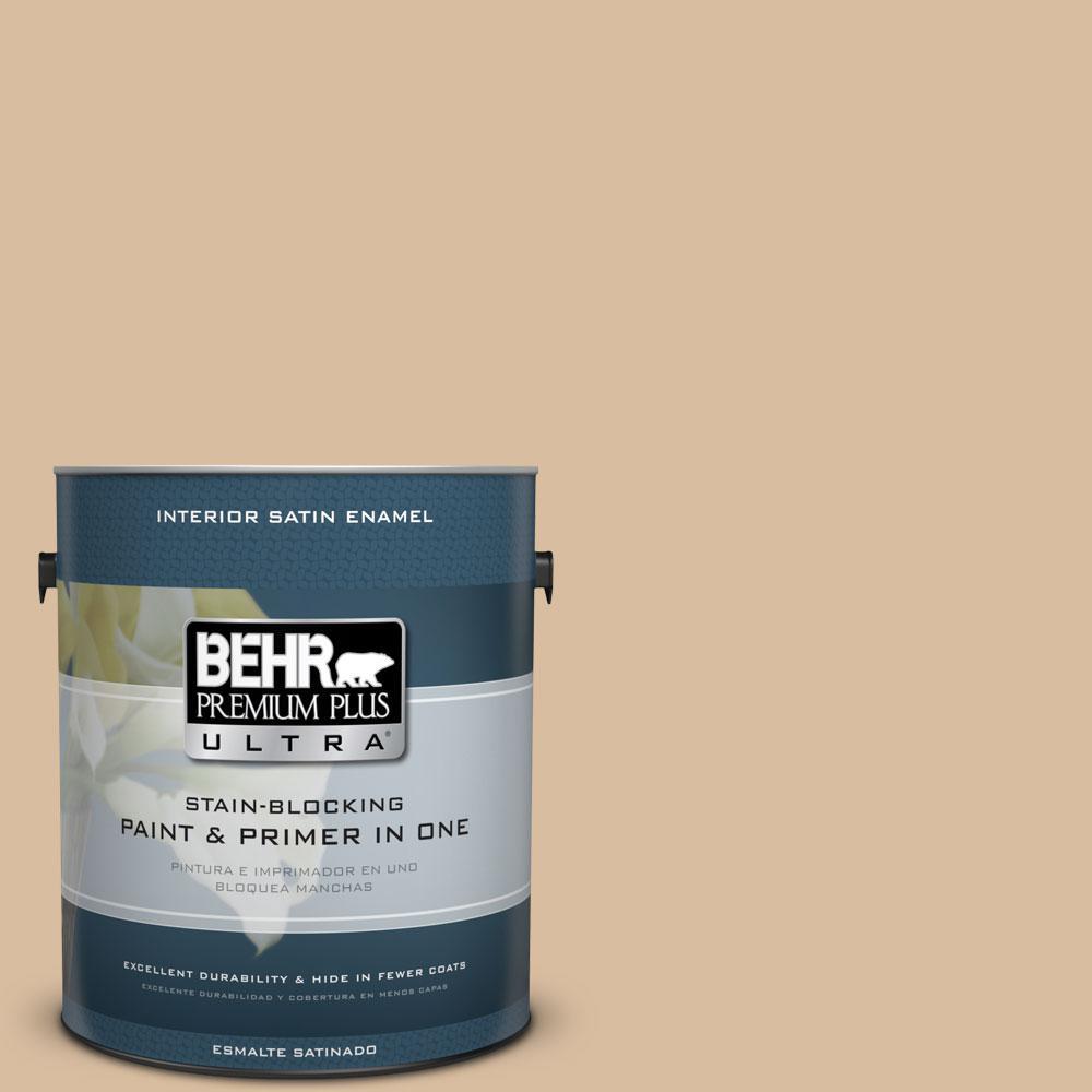 BEHR Premium Plus Ultra 1-Gal. #PPU4-14 Renoir Bisque Satin Enamel Interior Paint