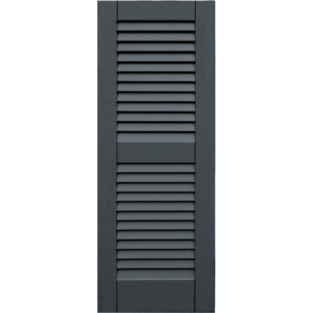 Winworks Wood Composite 15 in. x 40 in. Louvered Shutters Pair #663 Roycraft Pewter