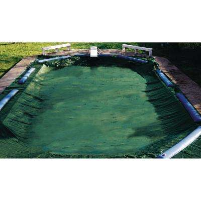 21 ft. x 37 ft. Rectangular Green In-Ground Ripstopper Winter Pool Cover