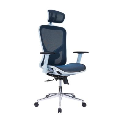 The TechniMobili Blue High Back Executive Mesh Office Chair with ArmsHeadrest and Lumbar Support