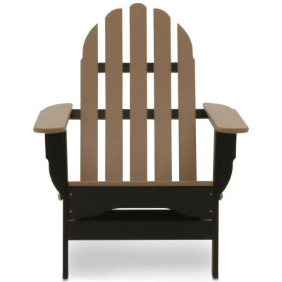 Icon Black and Weathered Wood Plastic Folding Adirondack Chair