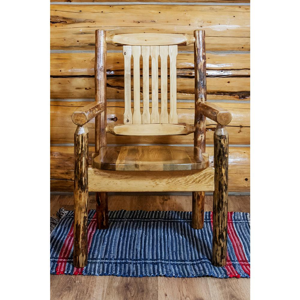 Montana Glacier Country Brown Wood Captain's Arm Chair, S...
