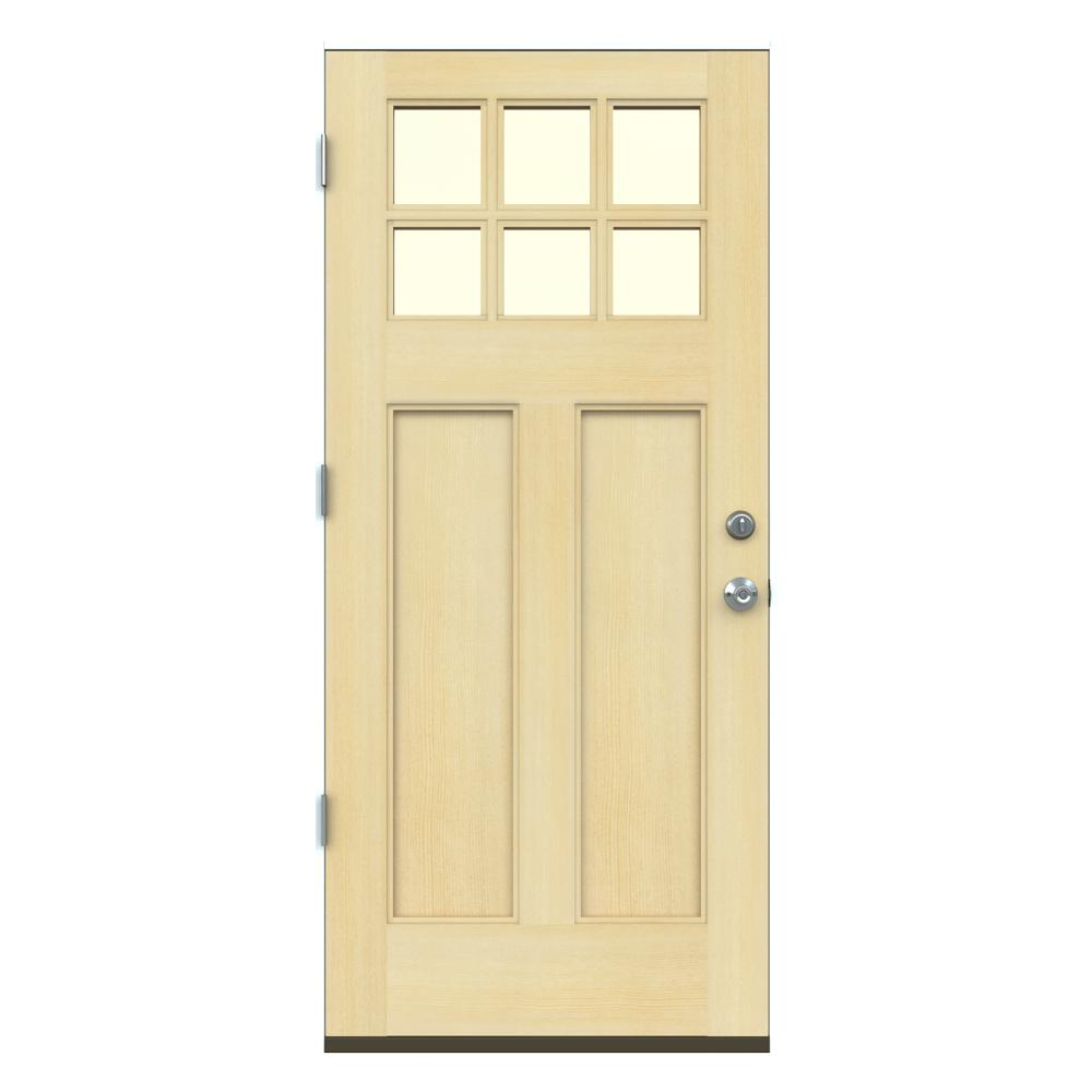 Jeld wen 36 in x 80 in craftsman unfinished right hand for Outswing exterior door home depot