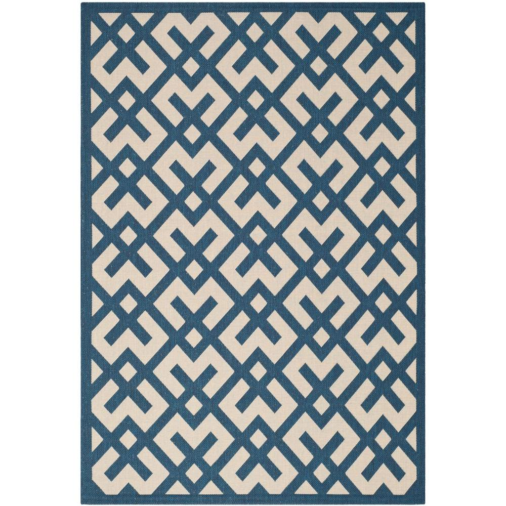 Safavieh Courtyard Navy Beige 9 Ft X 12 Ft Indoor Outdoor Area Rug