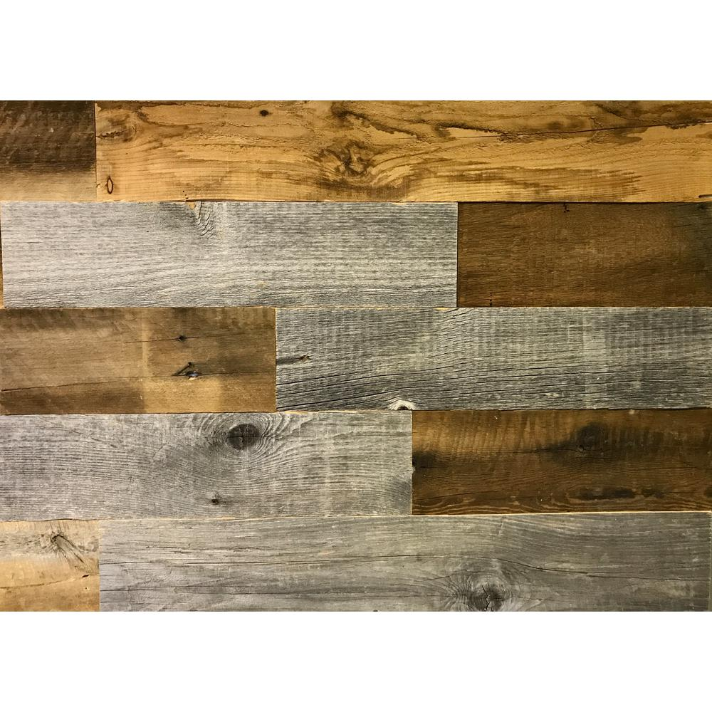 Artis Wall Authentic 3 16 In Thick X 5 High 12 To 44 31 Length 20 Sq Ft Reclaimed Wood Planks Awrw020 The Home Depot