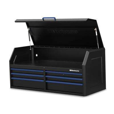 56 in. x 24 in. 6-Drawer Tool Top Chest in Black and Blue