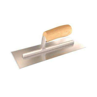 11 in. x 4-1/2 in. V-Notched Margin Trowel with Notch size of 3/16 in. x 3/16 in. with Wood Handle