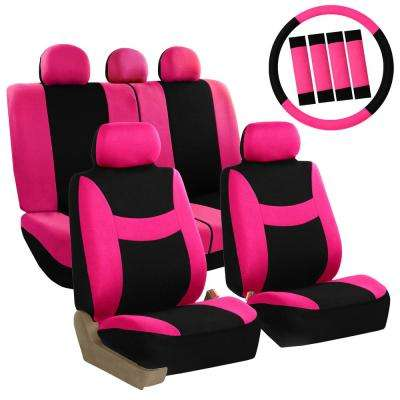 Light and Breezy Fabric 47 in. x 23 in. x 1 in. Full Set Seat Covers with Steering Wheel Cover and 4-Seat Belt Pads