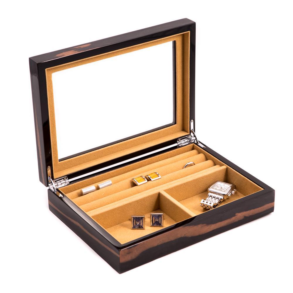10 in. D x 2.25 in. H x 7 in. W Wood Jewelry Case in Ebony