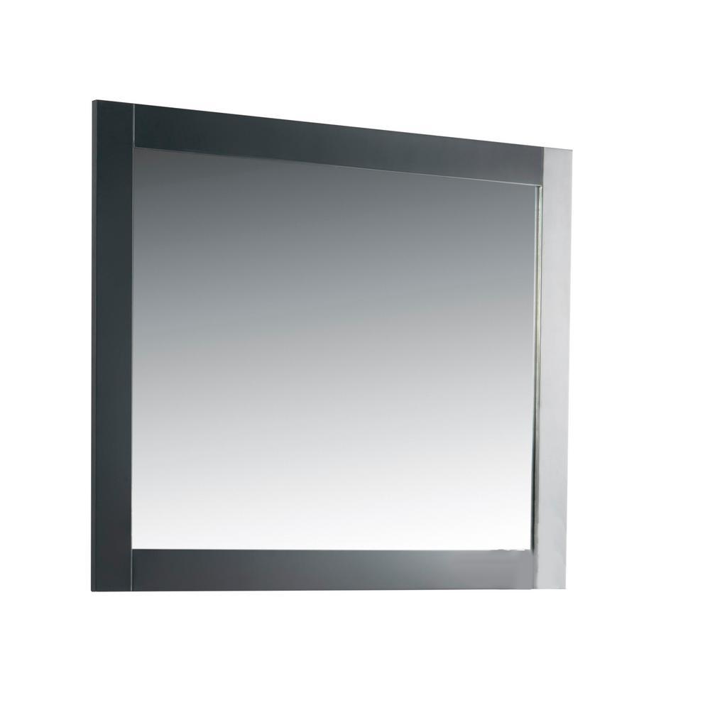 40 in. x 31.5 in. Single Framed Wall Mirror in Dark Gray