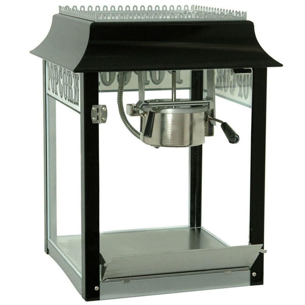Paragon 1911 Original 8 oz. Popcorn Machine, Black And Chrome Nostalgia combined with new technology. The antique style is modeled after the poppers used by American street vendors years ago. Pops 147 one ounce servings per hour. Versatile size - great for retail. Color: Black and Chrome.