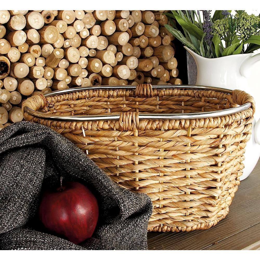 20 in. x 10 in. Natural Tan Brown Seagrass Oval Basket