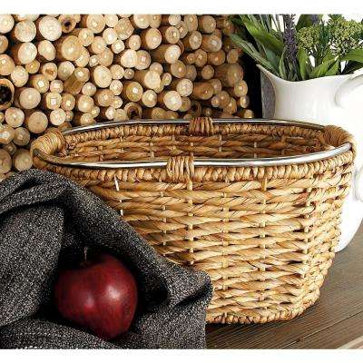20 in. x 10 in. Natural Tan Brown Seagrass Oval Basket with Cutout Handles and Silver Rim (Set of 3)