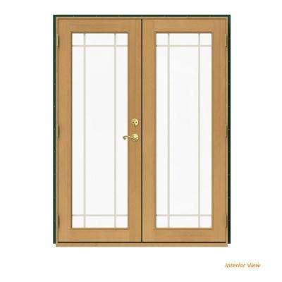 60 in. x 80 in. W-2500 Green Clad Wood Right-Hand 9 Lite French Patio Door w/Stained Interior