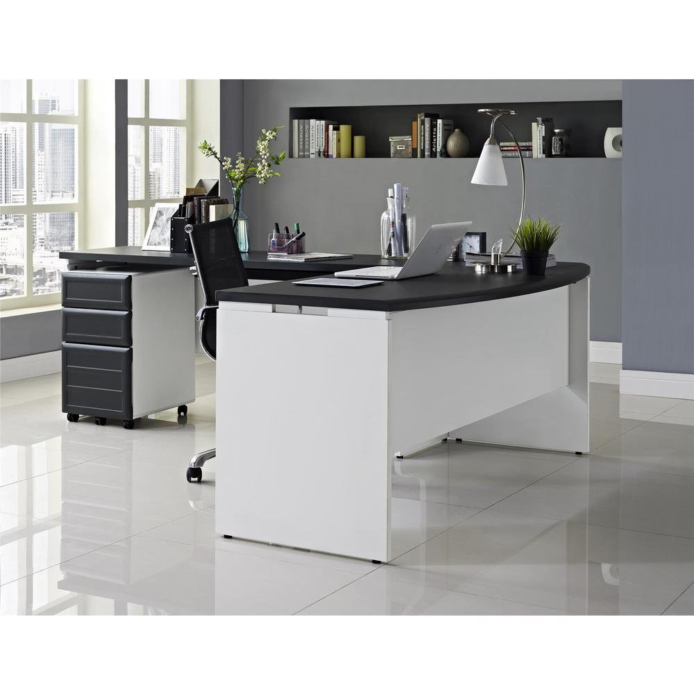 Altra Furniture Altra Pursuit White And Gray Desk With Storage