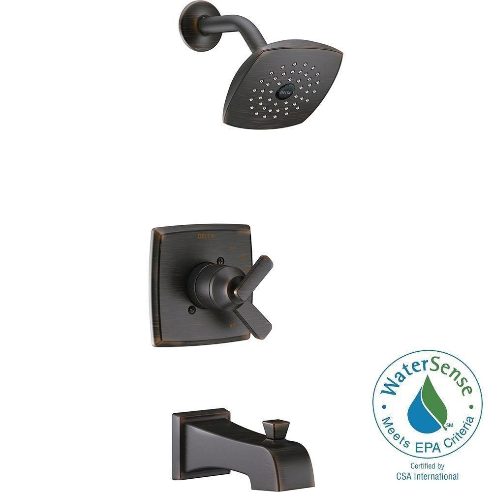 Delta Ashlyn 1-Handle Pressure Balance Tub and Shower Faucet Trim ...