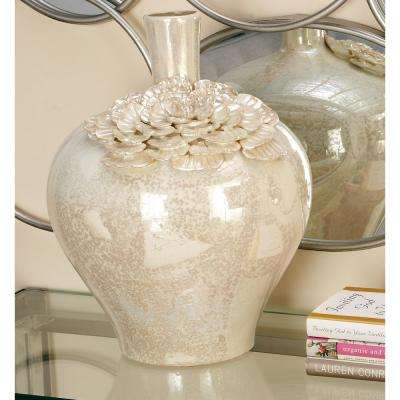 17 in. Pearlescent White Ceramic Stovepipe Decorative Vase