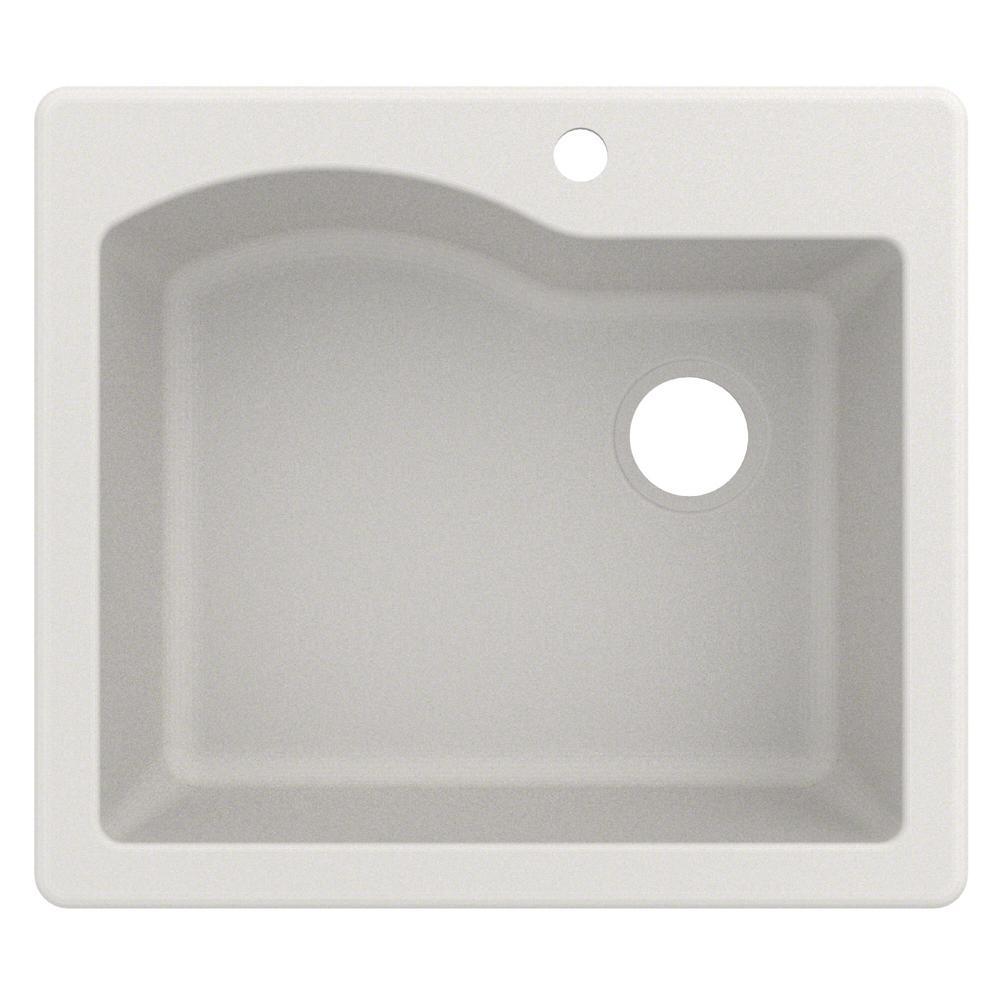 Quarza Drop-in/Undermount Granite Composite 25 in. 1-Hole Single Bowl Kitchen Sink in White