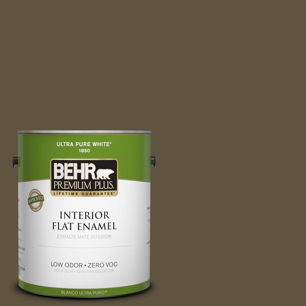 BEHR Premium Plus 1-gal. #S-H-750 Mountain Trail Zero VOC Flat Enamel Interior Paint-DISCONTINUED