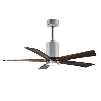 Patricia 52 in. LED Indoor/Outdoor Damp Polished Chrome Ceiling Fan with Light with Remote Control and Wall Control