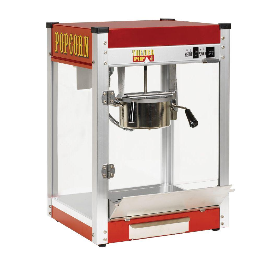 """Paragon Theater Pop 4 oz. Popcorn Machine, Red And Stainless Steel Paragon's American-made Theater Pop popcorn machines are unparalleled in quality and workmanship and are comparable to commercial popcorn machines you find at the movie theaters. If you are looking for the highest quality popcorn machine in the market, you will find it in the Theater Pop 4 oz. High output, hard coat anodized aluminum kettle - Easy-to-clean. Stainless steel food zone and tempered glass panels. Old maid drawer, Built in warming deck. Paragon's American-made Theater Pop popcorn machines are unparalleled in quality and workmanship and are comparable to commercial popcorn machines you find at the movie theaters. Matching stand built to fit for a custom """"single unit"""" look has a wraparound door. The stand is sold separately. #1 seller with consumers. 4 oz. - Pops 92 one ounce servings per hour. Ideal for home use. Color: Red and Stainless Steel."""