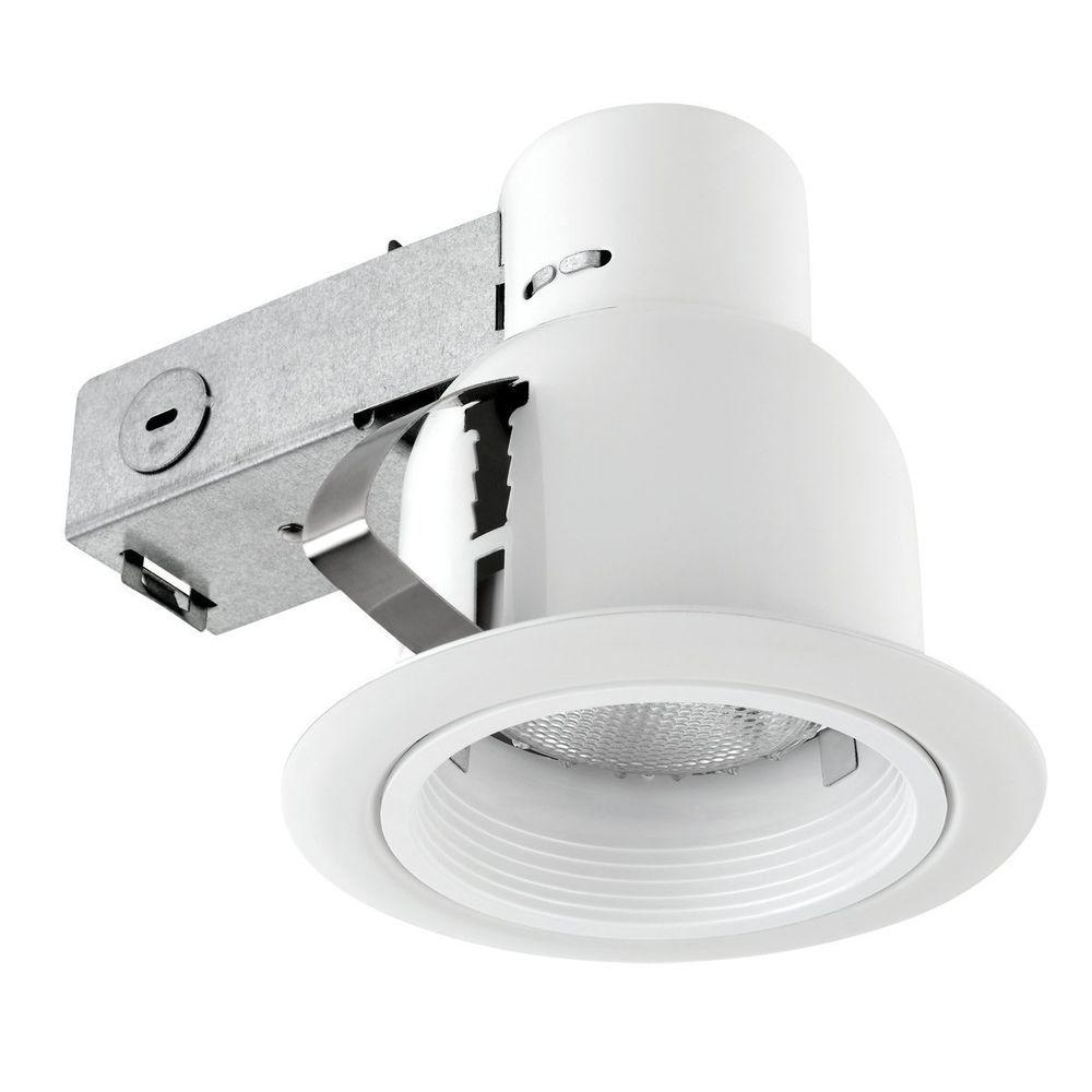Globe Electric 4 in. Open Indoor/Outdoor White Recessed Lighting Kit ...