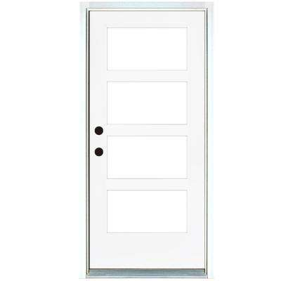 36 in. x 80 in. Smooth White Right-Hand Inswing Full-Lite 4-Lite SDL Low-E Finished Fiberglass Prehung Front Door