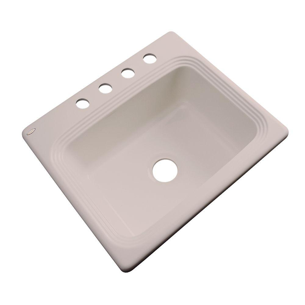 Thermocast Rochester Drop-In Acrylic 25 in. 4-Hole Single Bowl Kitchen Sink in Fawn Beige