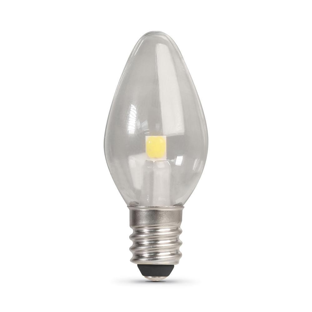 Feit Electric 7-Watt Equivelant C7 2700K Clear LED E12 Night Light Bulb (2-Pack)