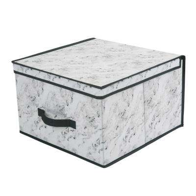 16 in. x 16 in. x 10 Jumbo Storage Box in Marble
