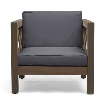 Brava Grey Removable Cushions Wood Outdoor Lounge Chair with Dark Grey Cushions