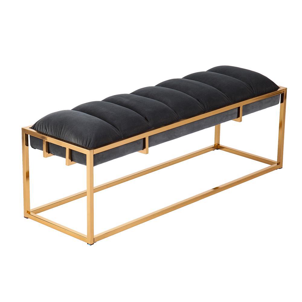 Mona Brass Upholstered Bench