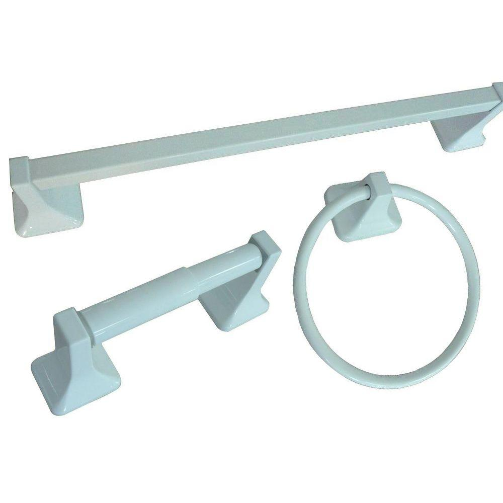 Glacier Bay Futura 3-Piece Bathroom Accessory Kit in White