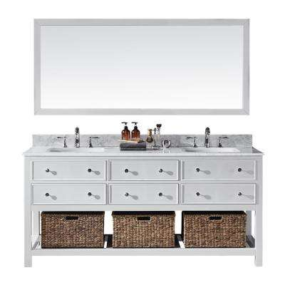 Elodie 72 in. W x 22 in. D x 34.21 in. H Bath Vanity in White With White Marble Top With White Basins and Mirror