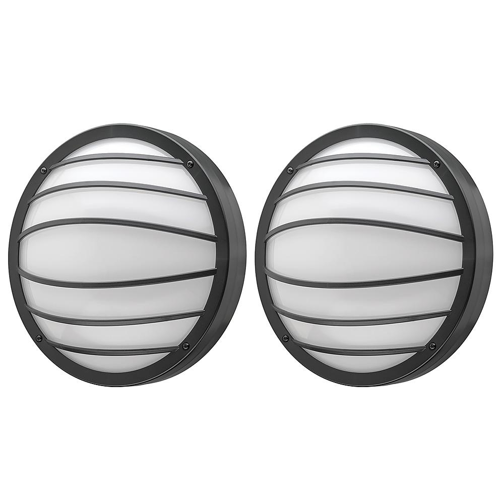 ETi ETi Shorebreaker Kit 10 in. Black Round LED Outdoor Coastal Bulkhead Light Wall Ceiling Includes 2 Fixtures - 2 Grill Guards
