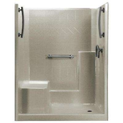 60 in. x 33 in. x 77 in. 1-Piece Low Threshold Shower Stall in Beach, Grab Bars, Left Hand Side Seat, Right Drain
