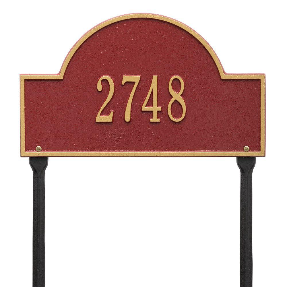 Whitehall Products Arch Marker Standard Red/Gold Lawn 1-Line Address Plaque