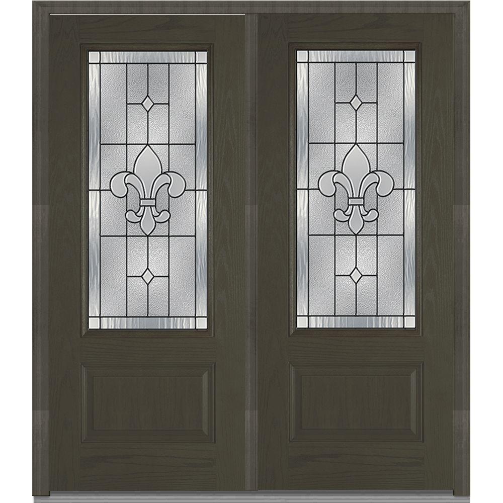 Mmi door 74 in x in carrollton decorative glass 3 4 lite oak finished fiberglass 30 exterior door with glass