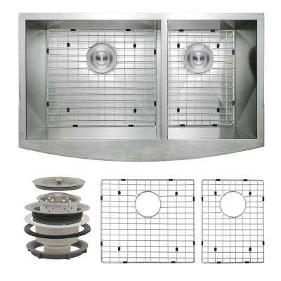 Handcrafted All-in-One Farmhouse Apron Front Stainless Steel 33 in. x 20 in. x 9 in, Double Bowl Kitchen Sink