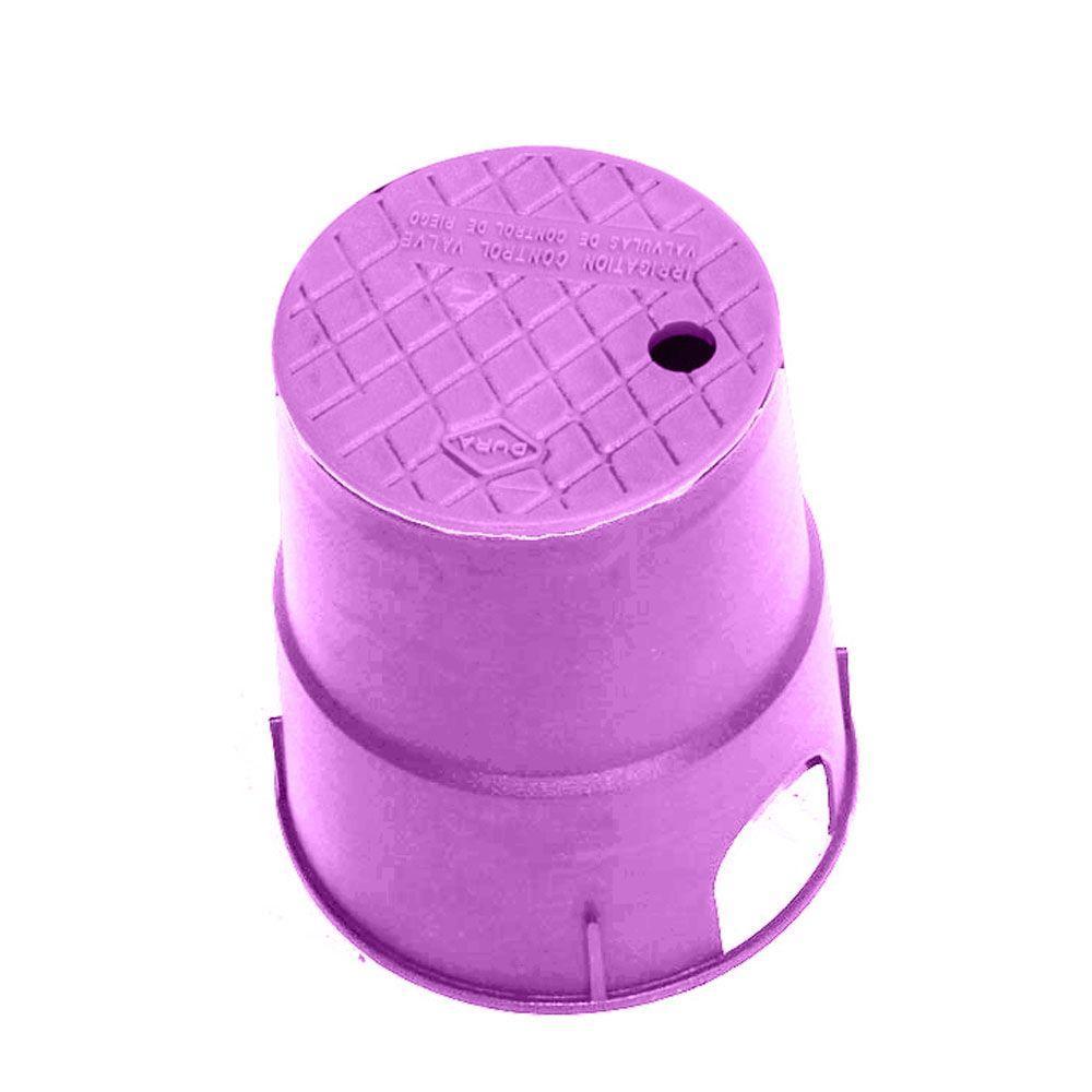 7 in. Round Valve Box in Purple Body Purple Lid