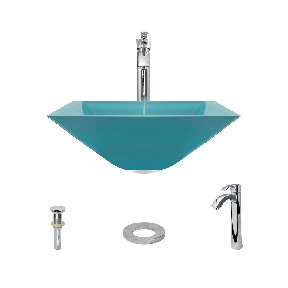 MR Direct Glass Vessel Sink in Turquoise with 726 Faucet and Pop-Up ...