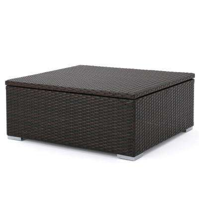 Iliana Multibrown Wicker Outdoor Ottoman Table with Storage
