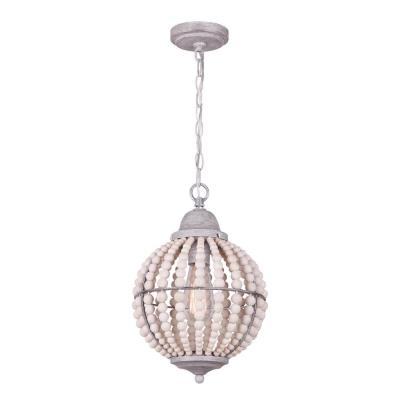 Vesta 1-Light Brushed Grey Pendant with Real Wood Beads