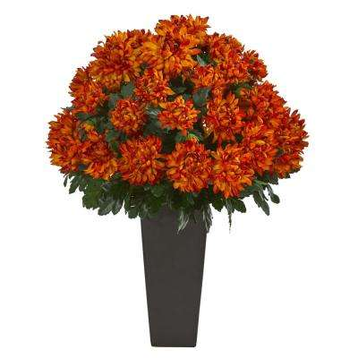 Indoor 27 in. Spider Mum Artificial Plant in Black Planter