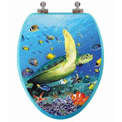3D Ocean Series Sea Turtle Elongated Closed Front Toilet Seat in Blue