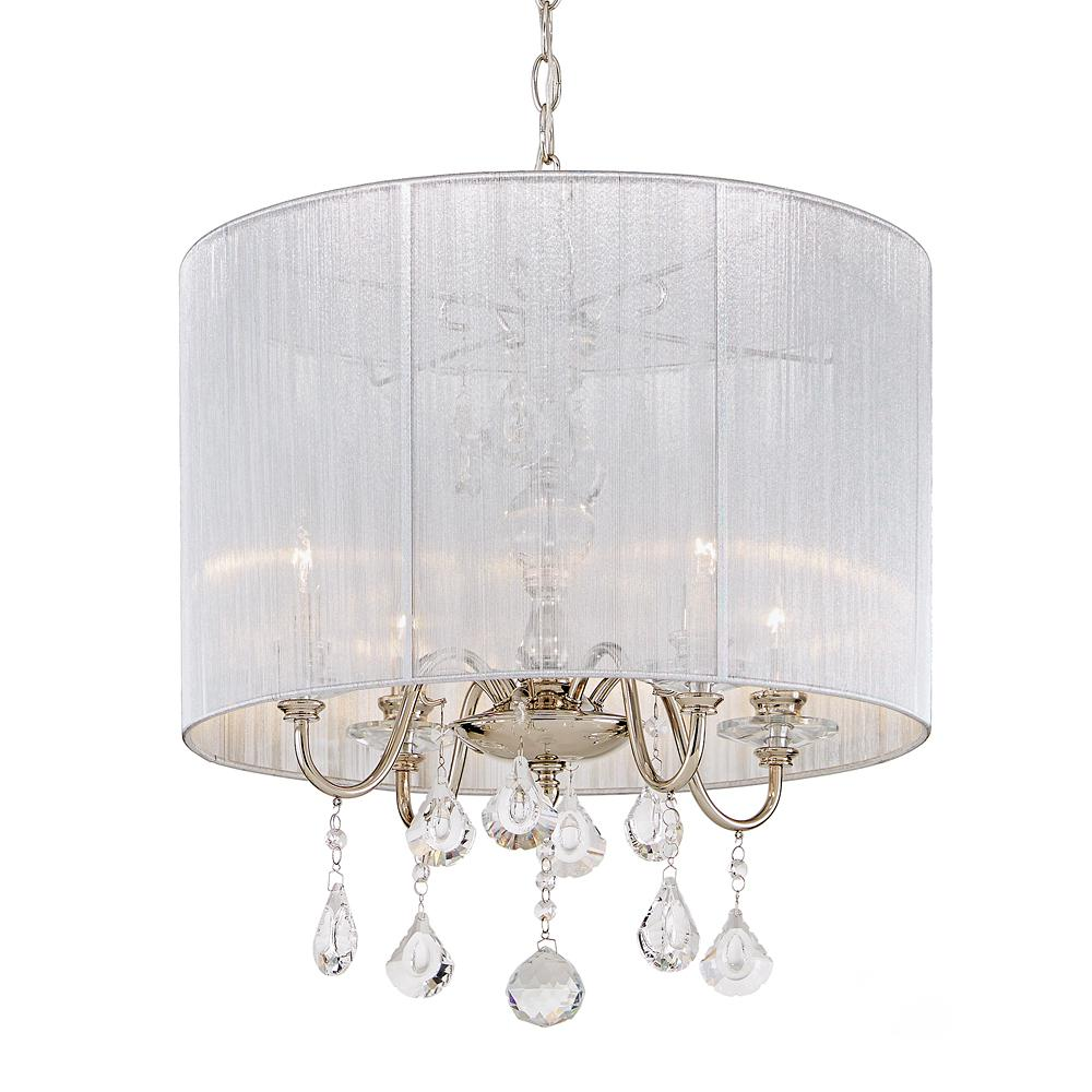 Home Decorators Collection St. Lorynne 4-Light Polished Nickel Pendant with Silver String Shade