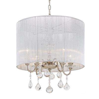 St. Lorynne 4 Light Polished Nickel Pendant With Silver String Shade