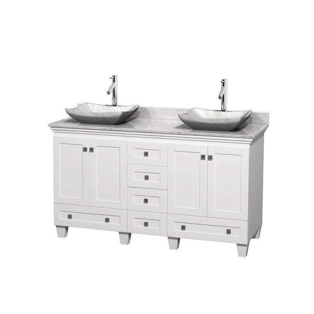 Acclaim 60 in. W Double Vanity in White with Marble Vanity