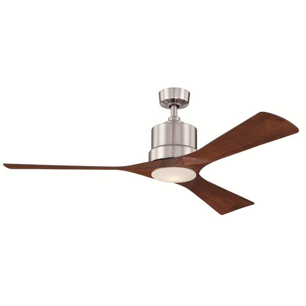 Brushed Nickel Indoor Led Ceiling Fan With Remote Control