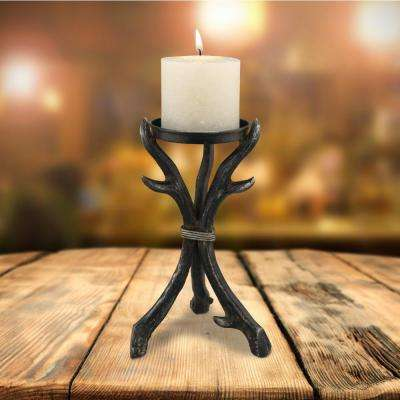 9 in. Brown Metal Horn Pillar Candle Holder
